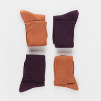 Ribbed Ankle Sock Set Mustard and Purple