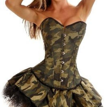 Daisy Corsets 3 PC Sexy Army Girl Costume 2X