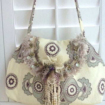 fabric handbag, purse, hobo, gypsy, bohemian, crossbody, shabby chic, removable brooch, retro print, cream, lavender, grey, shoulder bag