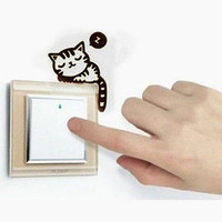 Cute Cat Nap Pet Light Switch Funny Wall Decal Vinyl Stickers Black.CA3C