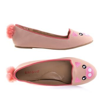 Kiwi74S Piggy By Bamboo Piggy Adorable Round Toe Ballet Flat Loafer w Cute Animal Face, Faux Fur Tail