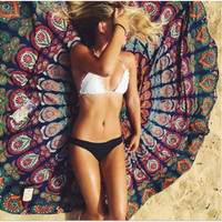 Fashion Female Graffiti Multicolor Print Chiffon Beach Towel Shawl