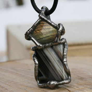men necklace, mens raw necklace, onyx necklace, men pendant, labradorite goth necklace, healing personal amulet, pagan rustic necklace