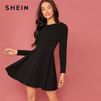 Black Solid Zipper Back Elegant Flared Dress Women Spring High Waist Long Sleeve Ladies Basic Fit And Flare Short Dresses