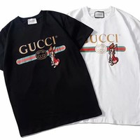Gucci Embroidery Rabbit Cotton Tee Shirt Top Black/White