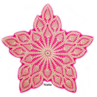 Crochet Ecru Cream Beige Doily Pineapple Star Fine Thread New Handmade Heirloom Niatta