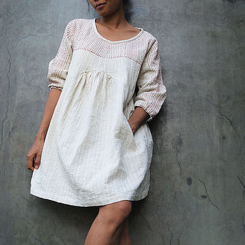 Tone poemLinen earthy dress with hand stitches by cocoricooo