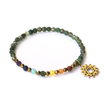 Heart Chakra Delicate Bracelet, with Chakra Gemstones and Moss Agate