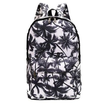 LMFON1O Day First Canvas Palm Tree School Backpack Daypack Travel Bag