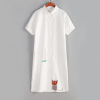 Hungry cat and delicious fish embroidery kawaii short sleeve single dress