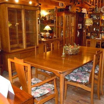 Mid Century Modern Table, Chairs, China Cabinet