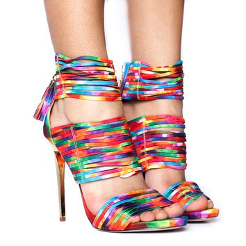 KALEIDOSCOPE DREAMS Colorful Strappy Sandal at FLYJANE