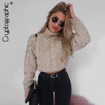 Cryptographic fashion winter turtleneck sweaters for women cropped jumpers slim knitwear warm solid pullover female short