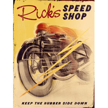 Personalized Motorcycle Speed Shop Wood Sign