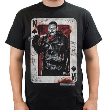 New Fashion Sleeve Tees The Walking Dead Negan Playing Card O-Neck Cotton Men's T-Shirt