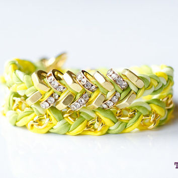 TINNLILY Chain and Hex Nut Double Wrap Silk Bracelet in Sparkling Lemon Lime