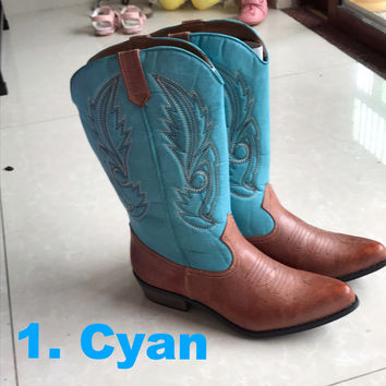 Women Western Cowboy Cyan Boots Shoes horse 50%OFF today only