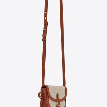 Toy BESACE bag in ivory linen and cognac leather