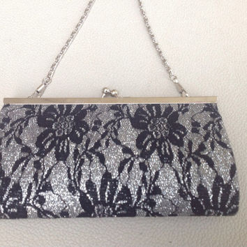 Evening Bag in Silver Metallic with Black Lace Overlay