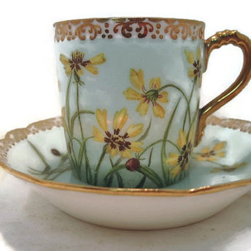 Vintage H and Co Handpainted Demitasse Cup and Saucer Set Mint Green and Yellow Flowers