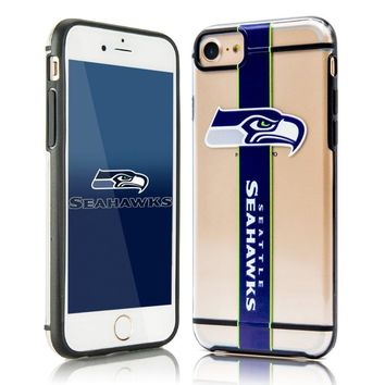 Seattle Seahawks Team Stripe Dual Layer Rubber iPhone 7 Case Cover