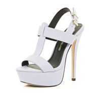 Light purple T bar platform sandals