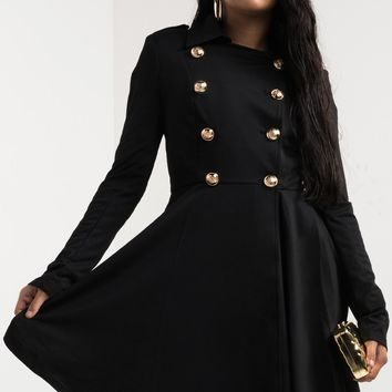 AKIRA Double Breasted Long Sleeve Metallic Button Lapel Flared Trench Coat in Black