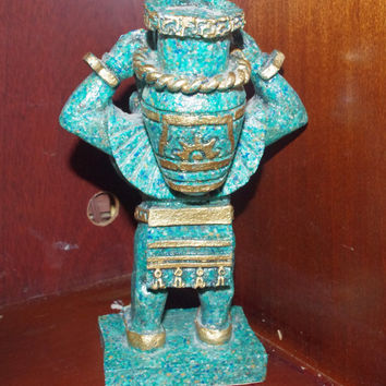 Vintage Aztec Mayan Blue Stone Warrior Sculpture Made in Mexico