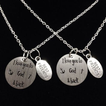 2 Necklaces I Love You To God And Back The Moon And Back Anchor Best Friends Set