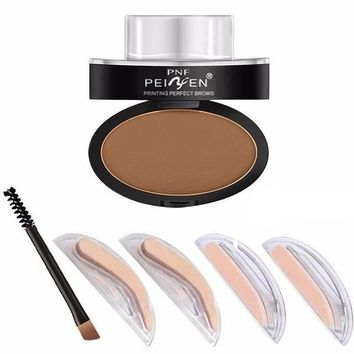 1pc Stamp Seal Powder with Eyebrow Stencils Brush Tools