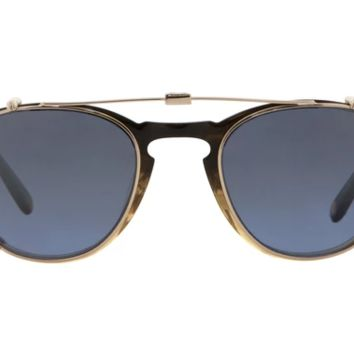Garrett Leight - Hampton Clip M 44mm Gold Clip-On Sunglasses / Blue Shadow Mirror Lenses