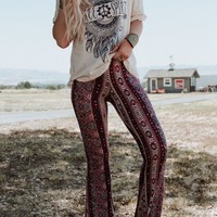 Cher Printed Flare Pants - Navy Paradise