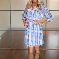 Air Brush Bow Dress Blue/Pink