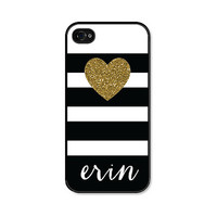 Personalized  iPhone Case Black Gold iPhone Case Striped Personalized iPhone 5 Case Gold iPhone 5c Case Monogrammed Gift Gold iPhone 5 Case