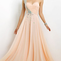 Jeweled One Shoulder Prom Gown by Blush