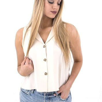 Women's Button Down Cropped Tank with Collar