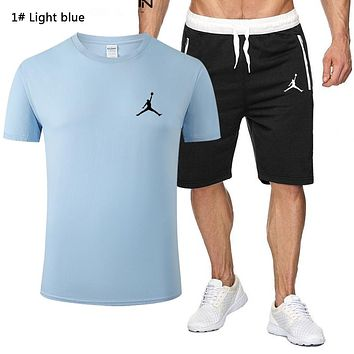 NIKE Jordan Summer Fashion New People Print Sports Leisure Top And Shorts Two Piece Suit Men 1# Light blue