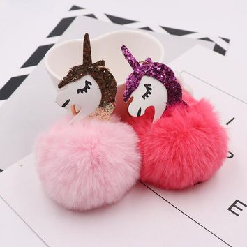 Unicorn pompom Keychain Horse porte clef pompom de fourrure pompon Bag Car Keyring Rabbit fur ball Fluffy licorne key chain New