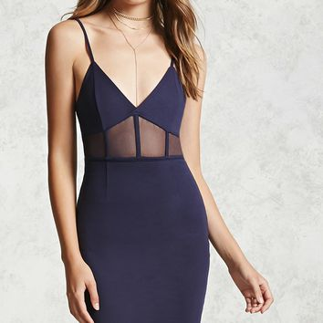 Sheer Mesh Panel Mini Dress