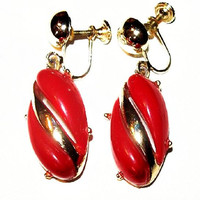 "Red Dangle Screw Back Earrings Thermoset Plastic Gold Metal 1 3/4"" Vintage"