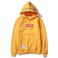 Champion And Supreme Fashion Pullover Embroidery Tops Sweater Hoodie Yellow