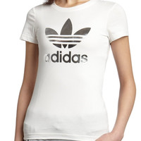"""Adidas"" White Silver Logo Short Sleeve Shirt Top Tee Blouse"