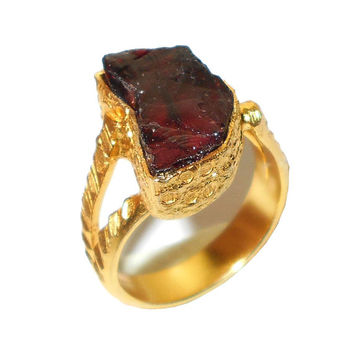 Garnet Ring - Raw Gemstone Ring - Gemstone Ring - Stackable Ring - Bezel Set Ring - Handmade Ring - Natural Stone Ring, Rough Stone Jewelry