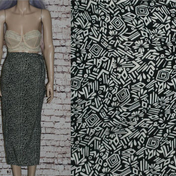 90s High Maxi Skirt Tribal Print Grunge Hipster Pastel Goth Cyber Boho Festival Gypsy Punk Black White Wrap Rayon L Large 32