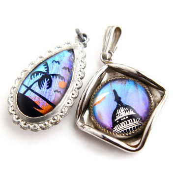 Vintage Butterfly Wing Pendant Lot - Two Genuine Morpho Butterfly Tourist Costume Jewelry Charms / Purple & Blue Iridescence