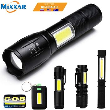 COB LED Flashlight Super Bright Waterproof Handheld Tactical Flashlights Pocket Keychain Work Light for Emergency NO Battery