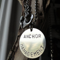 Silver Anchor Necklace Anchor Management by SugarandSoySauce