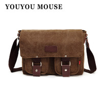 YOUYOU MOUSE Canvas Bags Vintage Messenger Bags Men's Shoulder Bag Multifunctional Casual Fashion School Bags Men Crossbody