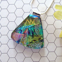 Blue, Green, Pink, and Gold Fused Glass Pendant - Dichroic Jewelry, Triangular Dichroic Necklace Great Gift Idea For Her - 124-15