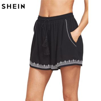 SHEIN Women 2017 Summer Shorts Mid Waist Casual Boho Straight Shorts Black Tasseled Drawstring Waist Embroidered Shorts